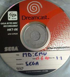 Sega Europe's in-development Mega Drive emulator on GD-Rom image courtesy of the Dreamcast Junkyard