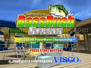 Bass Rush Dream ~Eco Gear PowerWorm Championship ©2000 Visco Corporation The games title screen ©2018 image by dreamcastcollector