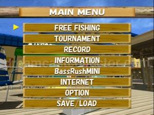 Bass Rush Dream ~Eco Gear PowerWorm Championship main menu sceen ©2000 Visco Corporation ©2018 image by dreamcastcollector