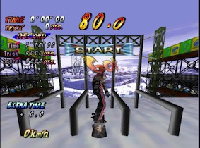 The playable trial versions of the game feature significant differences from the retail version of the game. Mountain Review features starting gates which are omitted from the final version of the game. ©1999 UEP SYSTEMS,Inc