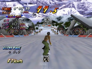Cool Boarders Burrrn! features six default characters but you can by fulfilling certain requirements unlock new characters. ©1999 UEP SYSTEMS,Inc