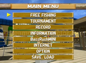 Bass Rush Dream ~ECOGEAR PowerWorm Championship~ Main menu screen. ©2000 VISCO CORPORATION. ©2018 image by dreamcastcollector