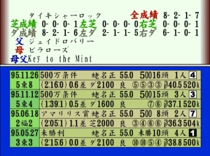 Such is the extent of data that you can see every possible information about the horse from when it started its career. To be honest a lot of this information goes over my head but i can see it would be useful to people to have it at a press of a button. ©1999 SHOUEI SYSTEM ©1999 KANTOU KEIBA SINBUN KYOUKAI Image by dreamcastcollector