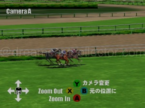 All the various camera options in the simulation mode are editable in real-time including panning and zooming on specific riders and their mounts. This in effect allows you to recreate the actual race as if you were watching a live television broadcast. ©1999 Shangri-La.